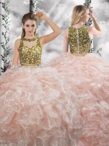 Super Peach Sleeveless Beading and Ruffles Floor Length Sweet 16 Dresses
