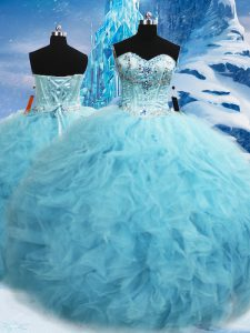 Sweetheart Sleeveless Ball Gown Prom Dress Floor Length Beading and Pick Ups Aqua Blue Tulle