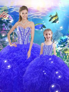 Sweetheart Sleeveless Quinceanera Dresses Floor Length Beading and Ruffles Royal Blue Organza