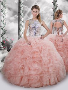 fd4455b939b  392.85  234.54  Scoop Sleeveless Lace Up Sweet 16 Dresses Baby Pink Organza