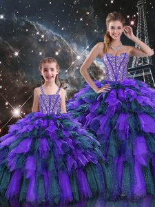 Elegant Multi-color Sleeveless Organza Lace Up Sweet 16 Quinceanera Dress for Military Ball and Sweet 16 and Quinceanera