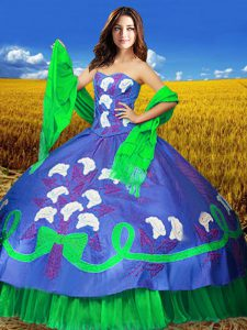 New Arrival Multi-color Lace Up Sweetheart Embroidery 15 Quinceanera Dress Taffeta Sleeveless