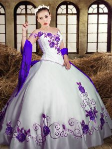 Latest Floor Length Lace Up Quinceanera Dresses White for Military Ball and Sweet 16 and Quinceanera with Embroidery