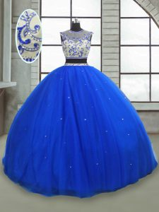 Floor Length Royal Blue Quinceanera Gown Tulle Sleeveless Beading
