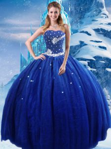 Customized Royal Blue Strapless Lace Up Beading 15 Quinceanera Dress Sleeveless