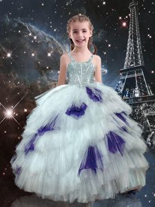 White Sleeveless Floor Length Beading and Ruffled Layers Lace Up Little Girls Pageant Dress