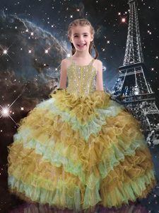 Sleeveless Floor Length Beading and Ruffled Layers Lace Up Kids Pageant Dress with Champagne