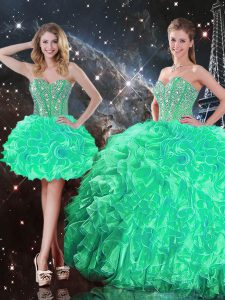 Sweetheart Sleeveless Organza Sweet 16 Dresses Beading and Ruffles Lace Up