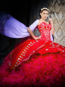 Colorful Sleeveless Organza Brush Train Lace Up Ball Gown Prom Dress in Red with Embroidery and Ruffles