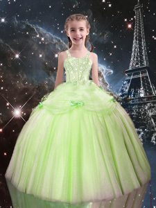 Yellow Green Sleeveless Tulle Lace Up Pageant Dress Wholesale for Quinceanera and Wedding Party