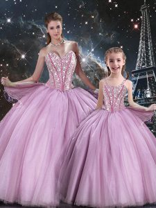 Lilac Ball Gowns Tulle Sweetheart Sleeveless Beading Floor Length Lace Up 15th Birthday Dress
