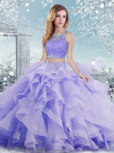 Lavender Clasp Handle Scoop Beading and Ruffles 15th Birthday Dress Organza Sleeveless