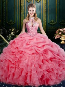 Sophisticated Sleeveless Floor Length Beading and Ruffles and Pick Ups Lace Up Flower Girl Dress with Watermelon Red