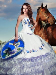 Sexy Taffeta Strapless Long Sleeves Lace Up Embroidery and Ruffled Layers Sweet 16 Quinceanera Dress in White