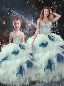 Customized Floor Length Multi-color Quince Ball Gowns Organza Sleeveless Beading and Ruffled Layers