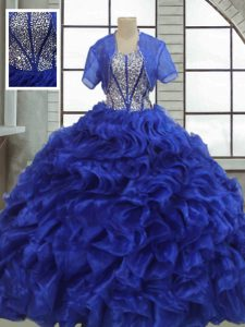 Designer Floor Length Lace Up 15 Quinceanera Dress Royal Blue for Military Ball and Sweet 16 and Quinceanera with Ruffles