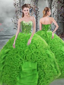 Flirting Sleeveless Lace Up Floor Length Beading and Ruffles Sweet 16 Quinceanera Dress