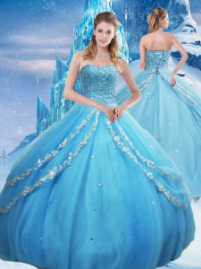 Fantastic Baby Blue Ball Gowns Beading and Appliques and Sequins Quinceanera Dresses Lace Up Tulle Sleeveless Floor Length