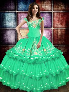 Sleeveless Embroidery and Ruffled Layers Lace Up Quinceanera Dress