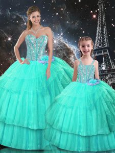 Sleeveless Floor Length Ruffled Layers Lace Up 15th Birthday Dress with Turquoise