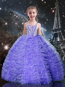 Simple Lavender Straps Lace Up Beading and Ruffled Layers Little Girls Pageant Dress Wholesale Short Sleeves