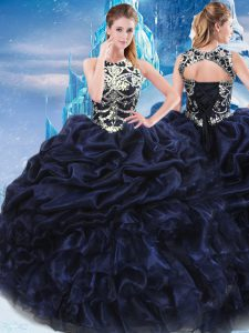 Fabulous Taffeta High-neck Sleeveless Lace Up Appliques and Ruffles and Pick Ups Vestidos de Quinceanera in Navy Blue
