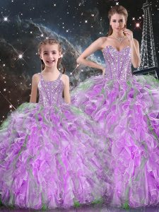Floor Length Multi-color 15th Birthday Dress Organza Sleeveless Beading and Ruffles