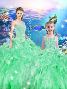 Low Price Apple Green Ball Gowns Sweetheart Sleeveless Organza Floor Length Lace Up Beading and Ruffles Quinceanera Gown