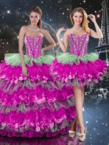 Sweetheart Sleeveless 15th Birthday Dress Floor Length Beading and Ruffles and Ruffled Layers Multi-color Organza