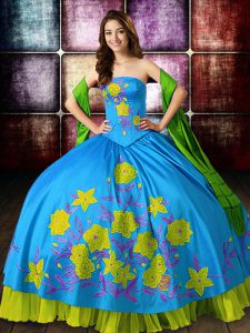 Pretty Floor Length Multi-color Quinceanera Gown Strapless Sleeveless Lace Up