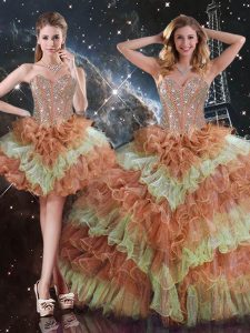 Dazzling Multi-color Sweetheart Lace Up Beading and Ruffled Layers Quinceanera Gown Sleeveless