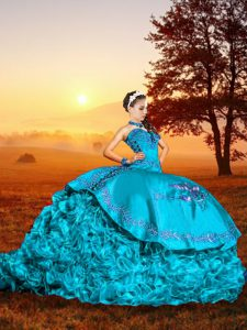 Dramatic Baby Blue Sleeveless Organza Brush Train Lace Up Quinceanera Dress for Military Ball and Sweet 16 and Quinceanera
