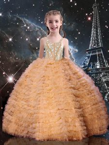 Straps Sleeveless Tulle Little Girls Pageant Gowns Beading and Ruffled Layers Lace Up