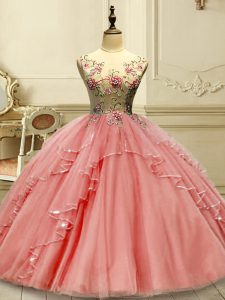 Nice Watermelon Red Lace Up Sweet 16 Dresses Appliques Sleeveless Floor Length