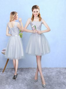 Adorable Silver Square Neckline Lace Court Dresses for Sweet 16 Sleeveless Lace Up