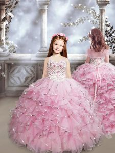 Baby Pink Evening Gowns Organza Brush Train Sleeveless Beading and Ruffles