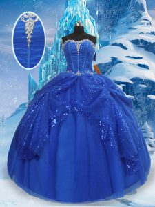 Clearance Sleeveless Floor Length Beading and Pick Ups Lace Up Quinceanera Gowns with Royal Blue