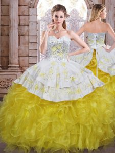 Customized Yellow And White Sleeveless Beading and Appliques and Ruffles Floor Length Quinceanera Gown