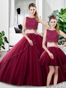 Hot Selling Fuchsia Scoop Neckline Lace and Ruching Quinceanera Dress Sleeveless Zipper