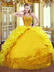 Charming Gold Taffeta Lace Up Sweetheart Sleeveless Quinceanera Gowns Brush Train Beading and Embroidery and Pick Ups