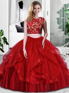 Edgy Floor Length Zipper Ball Gown Prom Dress Wine Red for Military Ball and Sweet 16 and Quinceanera with Lace and Ruffles