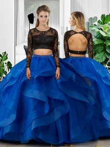 Glittering Blue Long Sleeves Lace and Ruffles Floor Length Quinceanera Dress