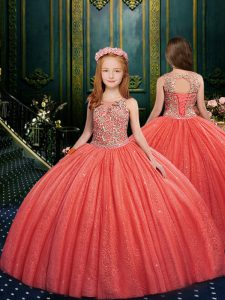 Watermelon Red Lace Up Scoop Appliques Little Girl Pageant Gowns Tulle Sleeveless