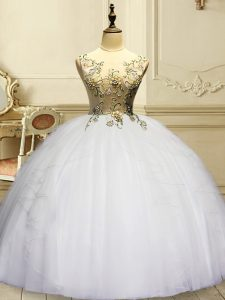 Excellent White Ball Gowns Scoop Sleeveless Organza Floor Length Lace Up Appliques and Ruffles Ball Gown Prom Dress