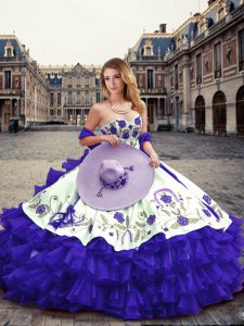 Customized Sleeveless Organza Floor Length Lace Up Quinceanera Gowns in Purple with Embroidery and Ruffled Layers