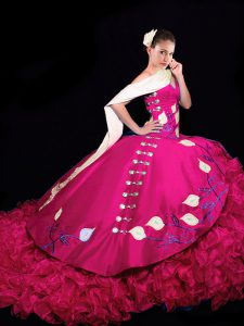 Fuchsia Ball Gowns Embroidery and Ruffles 15th Birthday Dress Lace Up Taffeta Sleeveless