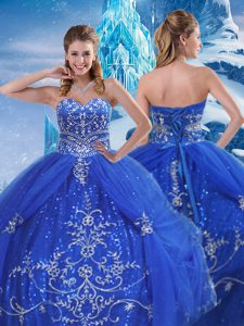 Blue Sweetheart Neckline Beading and Appliques 15th Birthday Dress Sleeveless Lace Up