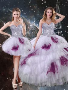 Cheap Sleeveless Tulle Floor Length Zipper Quinceanera Gowns in Multi-color with Beading and Ruffled Layers and Sequins