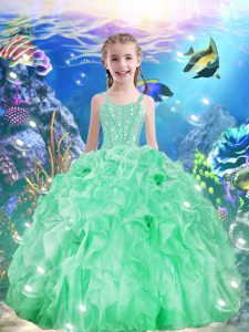 Superior Apple Green Ball Gowns Beading and Ruffles Pageant Dress Toddler Lace Up Organza Sleeveless Floor Length