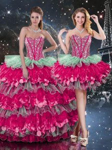 Fancy Multi-color Sweetheart Lace Up Beading and Ruffles and Ruffled Layers Ball Gown Prom Dress Sleeveless
